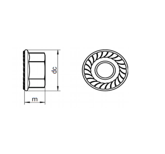 DIN 6923 - Specification for hexagon nuts with a serrated flange